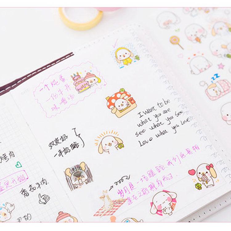 6PCS/set Kawaii Cute Drawing Market Planner Book Diary Decorate Stationery Stickers Sheet Transparent custom pvc sticker