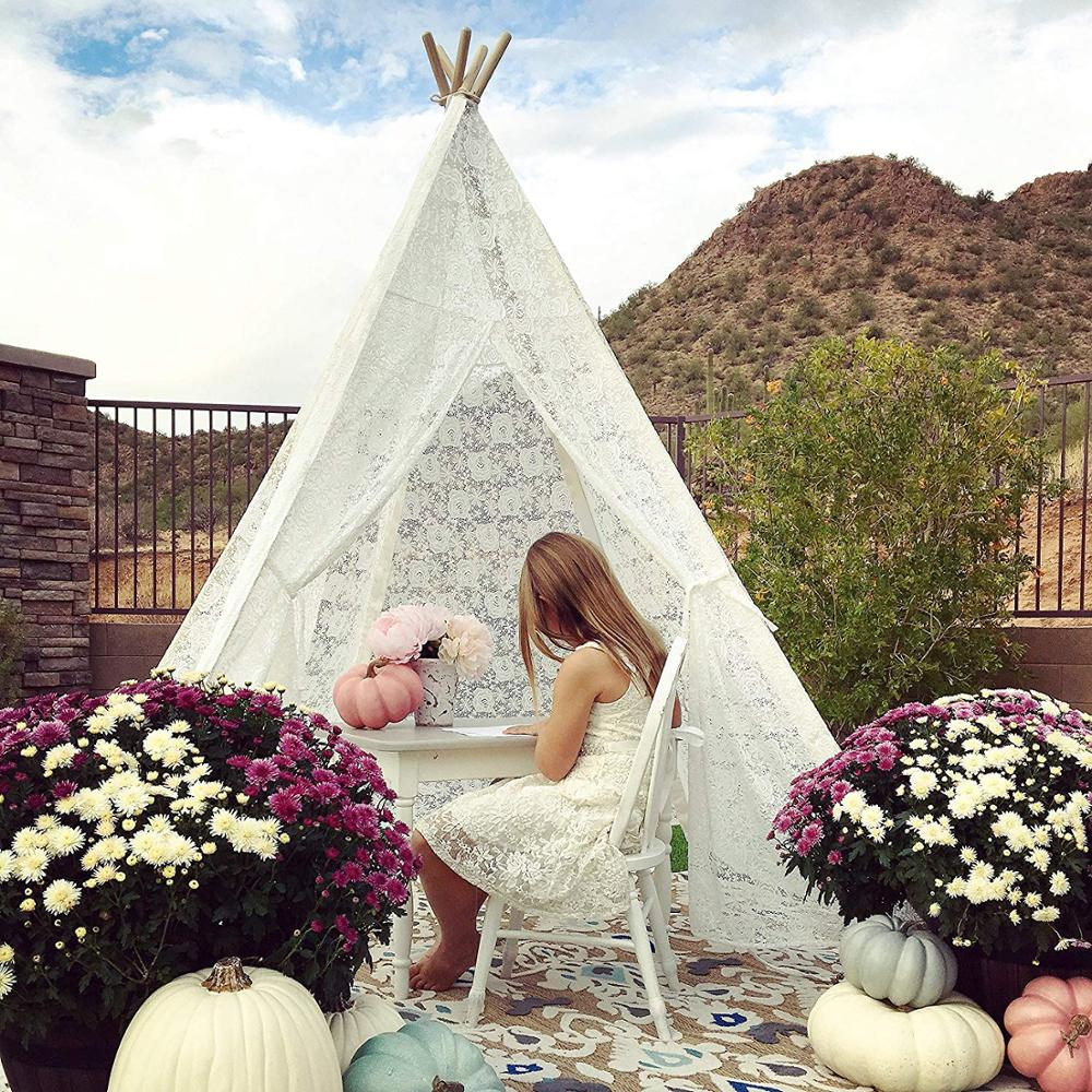 Luxury Teepee Lace Tent for Wedding, Party, Photo Prop Wood Poles Lace Canopy Indoor & Outdoor Kids Tent