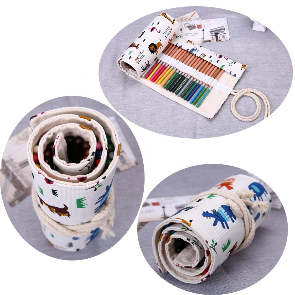 cheap Travel Portable Canvas Storage Organizer white 72 loops printing Pencils Case Wrap Roll bag