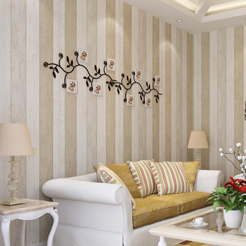 Mediterranean Style Living Room: Non Woven Wallpaper Wood Stripe Bedroom Den American