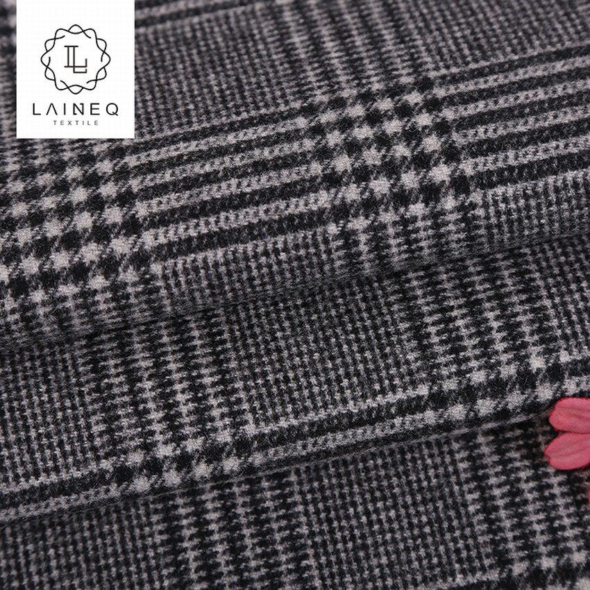 STOCK 10 years experience thick heavy glen plaid wool velvet fabric for overcoats
