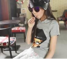 Коллекция 2016 года, летние футболки с короткими рукавами для девочек популярный эластичный пуловер универсальная одежда без подкладки(Китай)