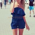 Beach skirt Women Ladies Sexy Jumpsuit Strapless Off Shoulder Plain Color Jumpsuit Cover UP H030