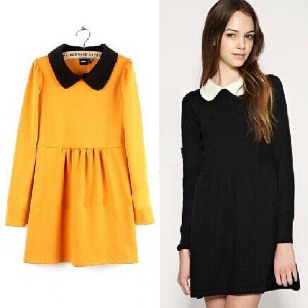 cf86d76935f Turmec » long sleeve black dress peter pan collar