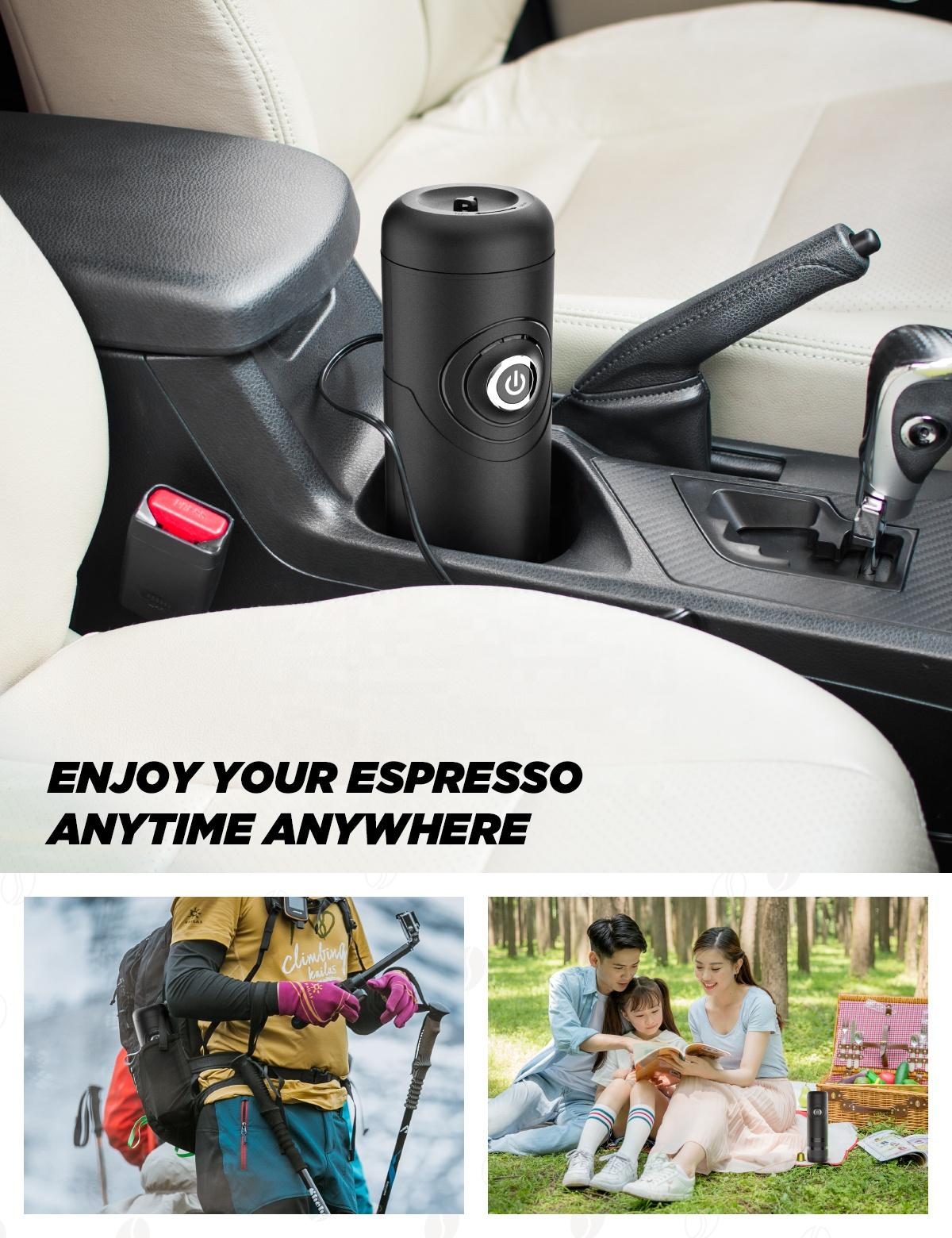 Портативная автоматическая кофемашина для итальянского эспрессо, 12 В, для путешествий, кемпинга, улицы