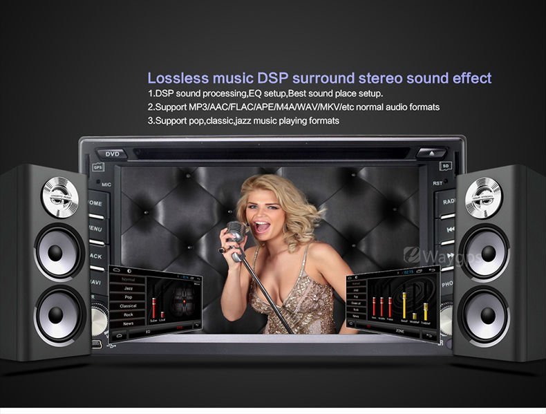 Universal 2din Car DVD Player Quad core android4 4 GPS navigation Audio  bluetooth HIFI music TDA7850 LC861PQH