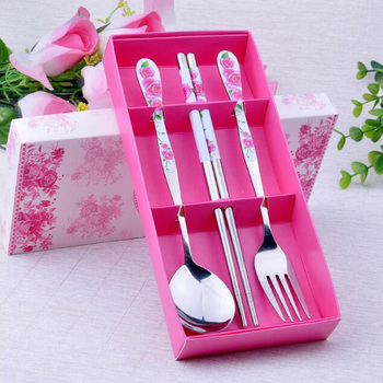 Stainless steel 3 pieces spoon fork chopsticks souvenir wedding return gift
