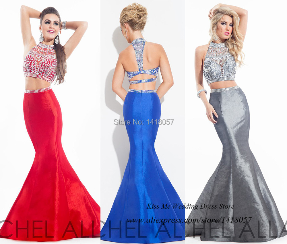 24ebde1757bc Sexy Red Blue Grey Two Piece Prom Dresses Silver Beaded Pageant Mermaid Long  Evening Gowns 2015