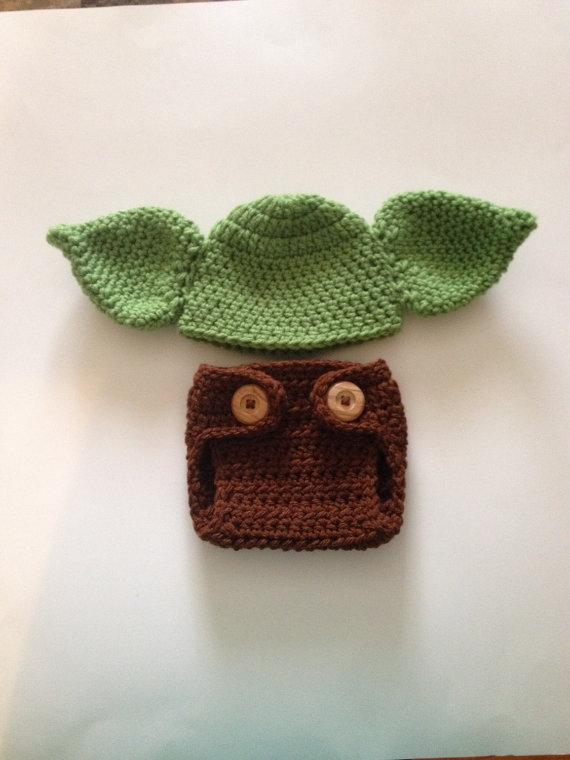 crochet newborn baby yoda hat and diaper cover star wars baby halloween costume newborn photo. Black Bedroom Furniture Sets. Home Design Ideas