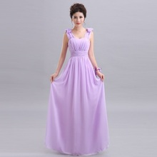 Qnzl70 V Neck A Line Lace Up Chiffon Peach Purple Champagne Pink Bridesmaid