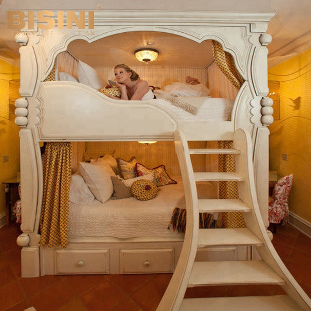 Bisini French Style White Kids Wooden Bunk Bed Dream House Princess Bed Bf07 70212 Buy Kids Wooden Bunk Bed Children Bedroom Furniture Design Princess Bed Product On Alibaba Com