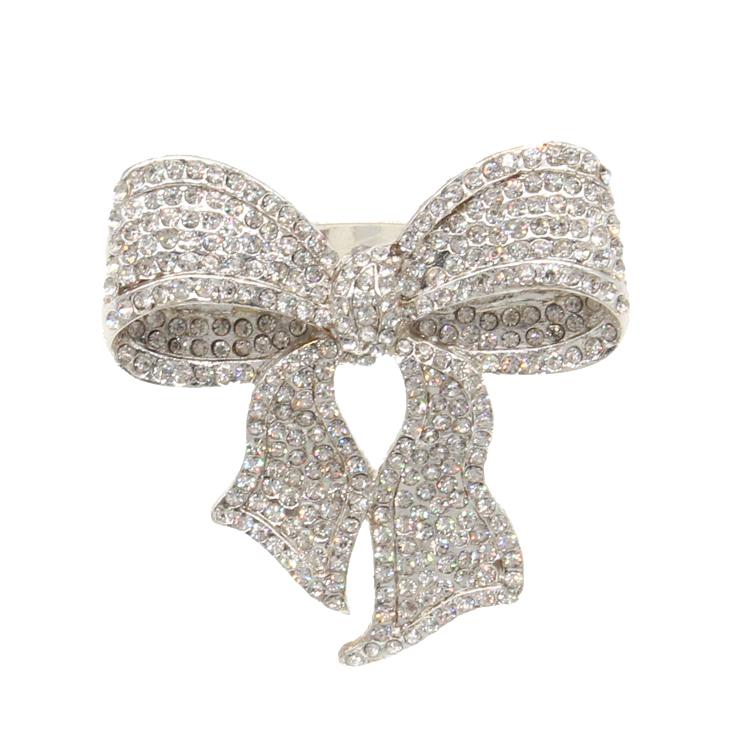 Металлическое Золотое кольцо для салфеток со стразами, бант, кольцо для салфеток для свадебного украшения