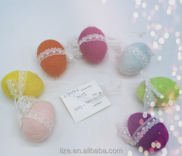 2018 hot sales home crafts holiday decorations felt wool handmade hanging easter egg decoration