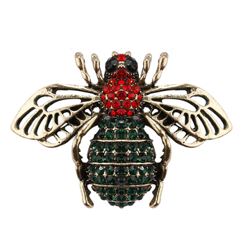 Rhinestone Openwork Wings Bee Brooches for Women Enamel Pins Small Insect Brooch Fashion Jewelry Bumble Bee Crystal Brooch