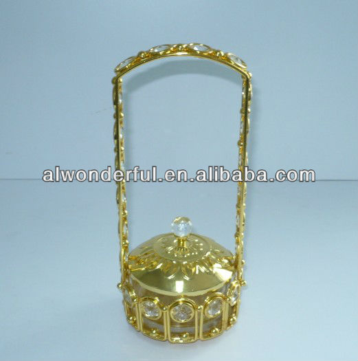 2013 gold plated decorative sugar pot/sugar can with handle