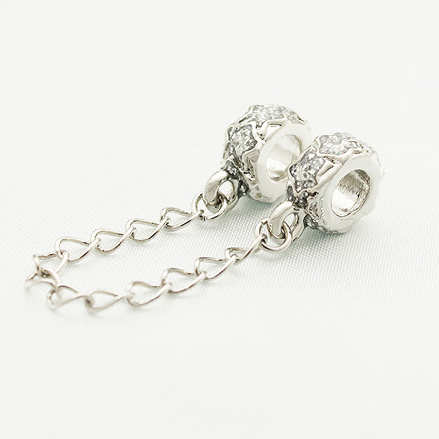 "Pandora Jewelry Free Shipping: Free Shipping ""white Enamel Security Chain"" Charm Beads"