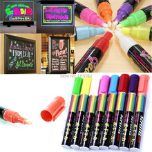 Free Shipping Highlighter Pen Liquid Chalk Marker Set For LED Writing Board Glass Window Pen Gift 6mm