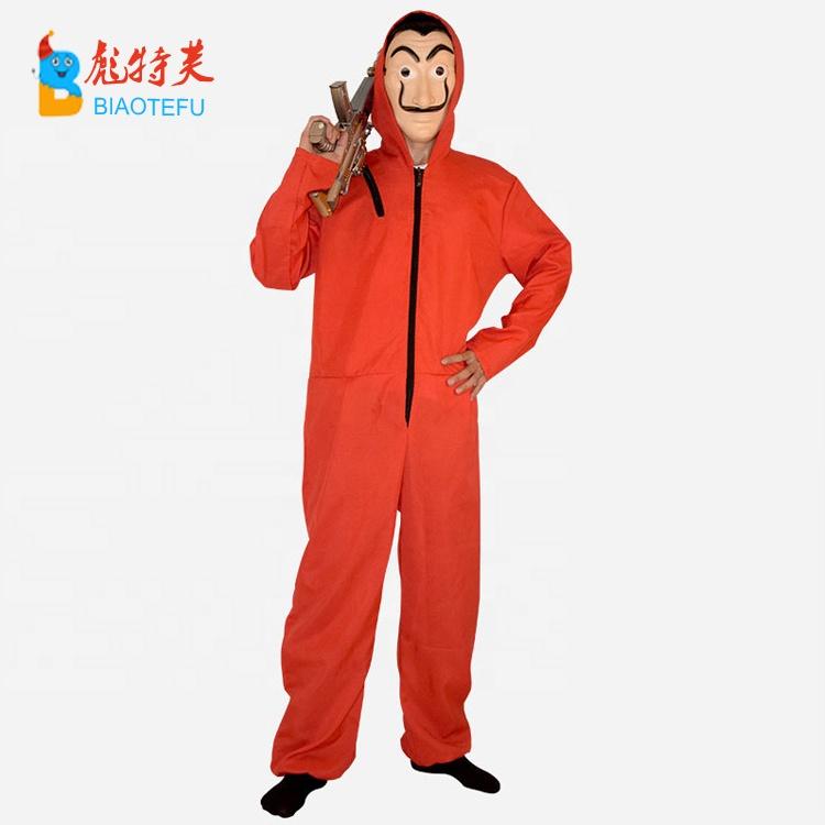 La Casa De Papel Coverall Salvador Dali Mask Cosplay Costume