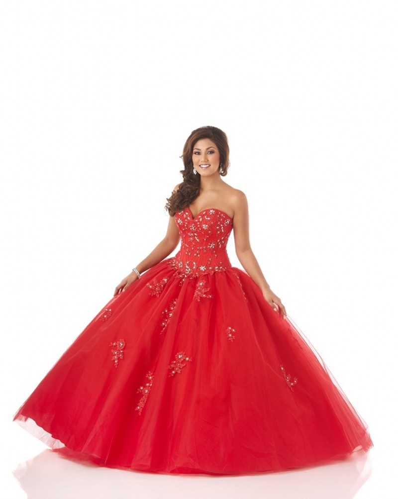 Hot Sale Ball Gown Tulle Cheap Quinceanera Gowns
