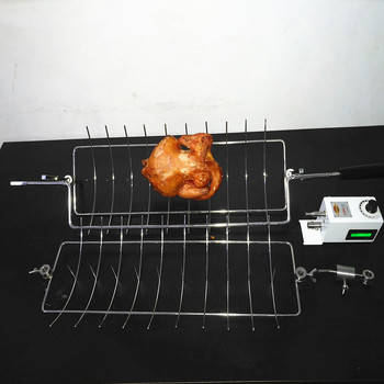 Stainless steel BBQ spit rotisserie chicken fish kebab grill basket skewer
