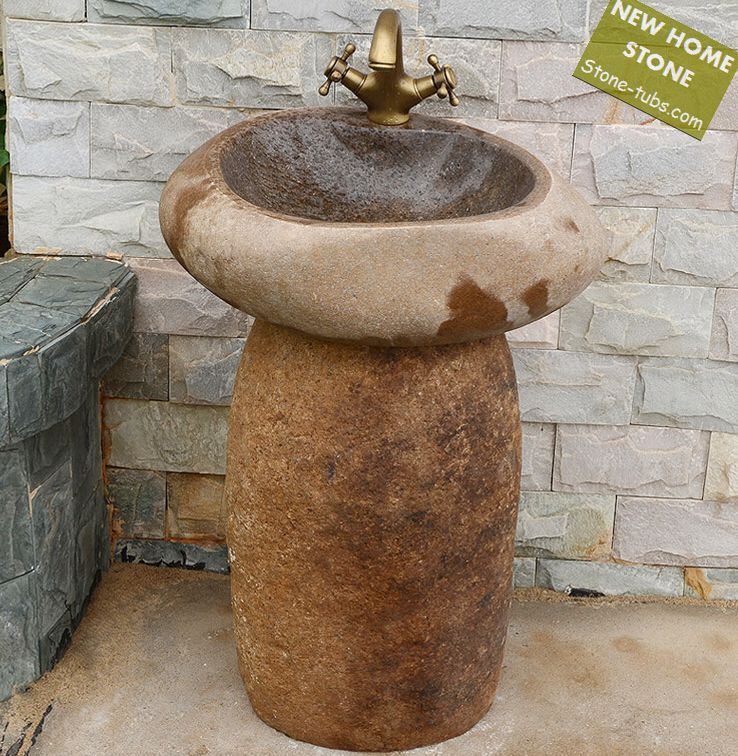 River Stone Pedestal Sink Chiseled Interior And Exterior