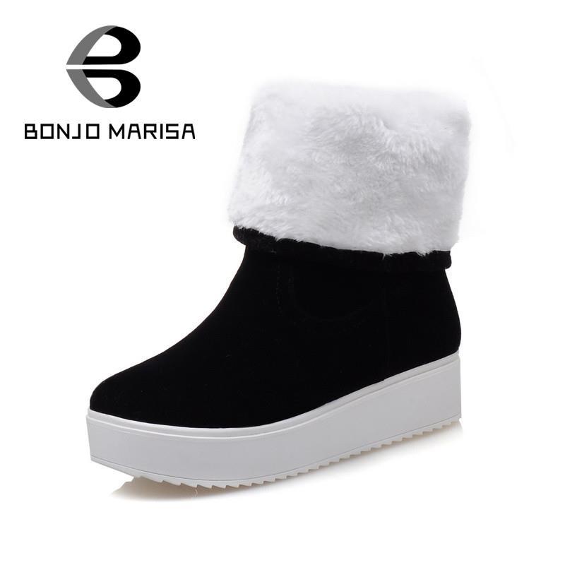 80b03cd7b617 Средний-икры 2016 мода круглый носок туфли-принцесса на плоская платформа  женская обувь дамы твердые теплой меховой снегоступы половина сапоги