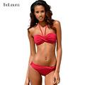 2016 New Sexy Bikini Push Up Swimwear Women Bandeau Halter Biquini Back Cross Swimsuit Summer Bathing