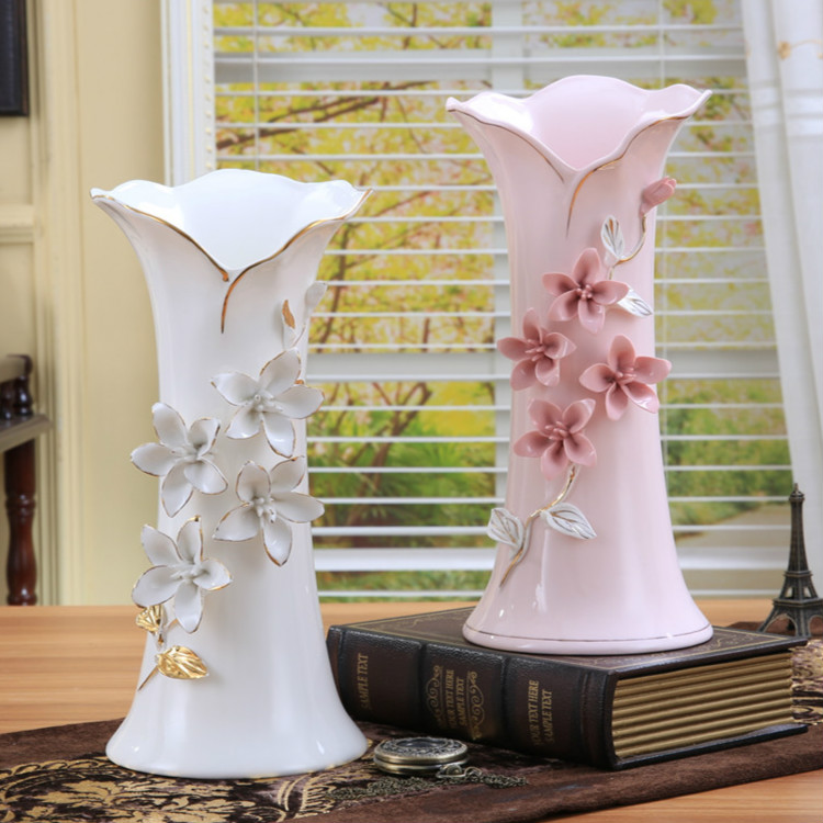 Vases Home Decor: Ceramic White Pink Flowers Vase Home Decor Large Floor