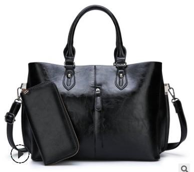 Сумка из натуральной кожи, сумки, Новое поступление, модная роскошная женская сумка, сумки на плечо, Женская Большая вместительная сумка чер...(Китай)