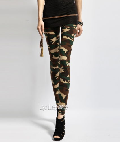 Women's Sexy Army Green Camouflage Printed Elastic Slim ...