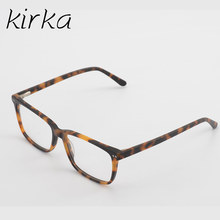 Кирка новые ацетатные мужские коричневые прямоугольные очки оправа мужские Оптические дизайнерские прозрачные очки при близорукости, опр...(Китай)