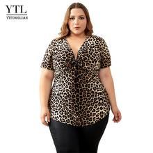 YTL размера плюс блузки для женщин леопардовые сексуальные глубокий v-образный вырез длинный рукав тонкая Туника Топы Блузки большого размер...(Китай)