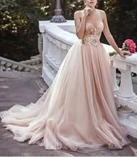 Завораживающие Румяна Тюль Свадебные платья 2020 Спагетти ремни без рукавов блесток свадебные платья с открытыми плечами Vestidos de Noiva(Китай)