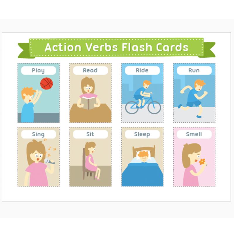 Children Learn English Flash Cards A4 Verbs/Animals ...