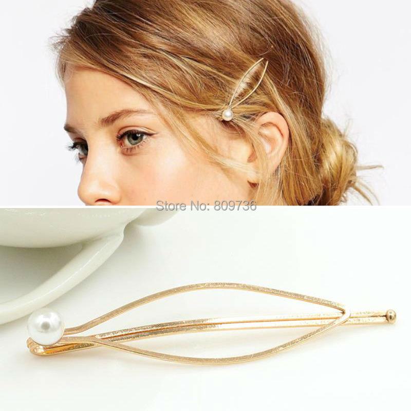 Women Girls Unique Practical Cute Golden Pearl Hair Pin ...