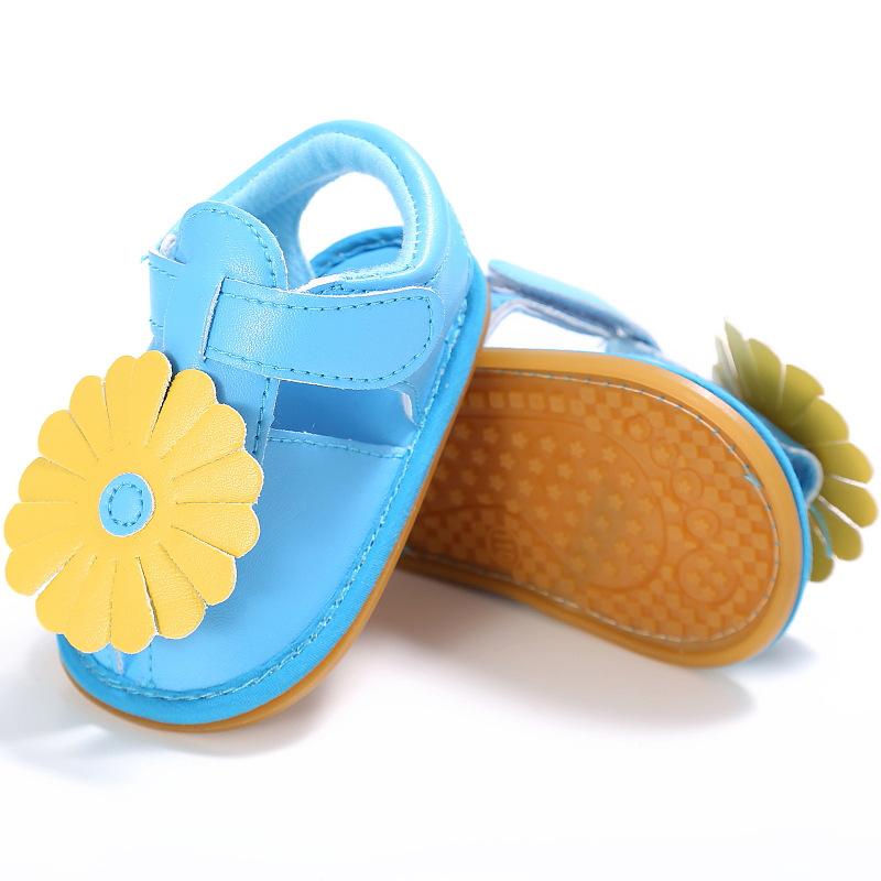 Летняя обувь для маленьких девочек, цветочные сандалии, мягкая кожаная детская обувь