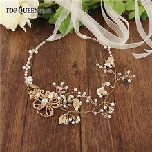 TOPQUEEN SH73 свадебный пояс, стразы, роза, золотой свадебный пояс для платьев, стразы, жемчуг, свадебный пояс(Китай)
