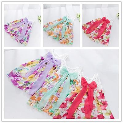 Baby Infant Kids Gilr Sweet Chiffon Floral Flower Wedding Party Dress Y2 6