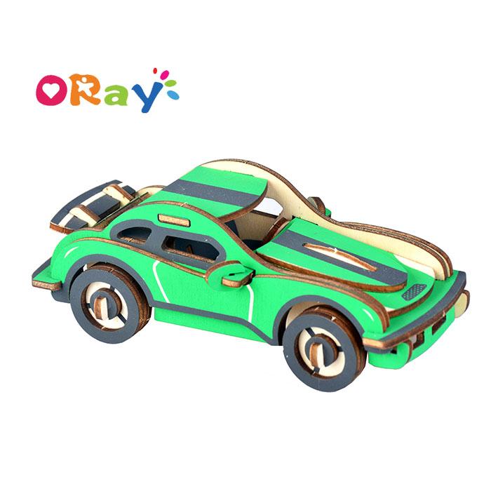 Цветные самодельные игрушки-машинки Oray, 3D деревянные Обучающие головоломки для детей