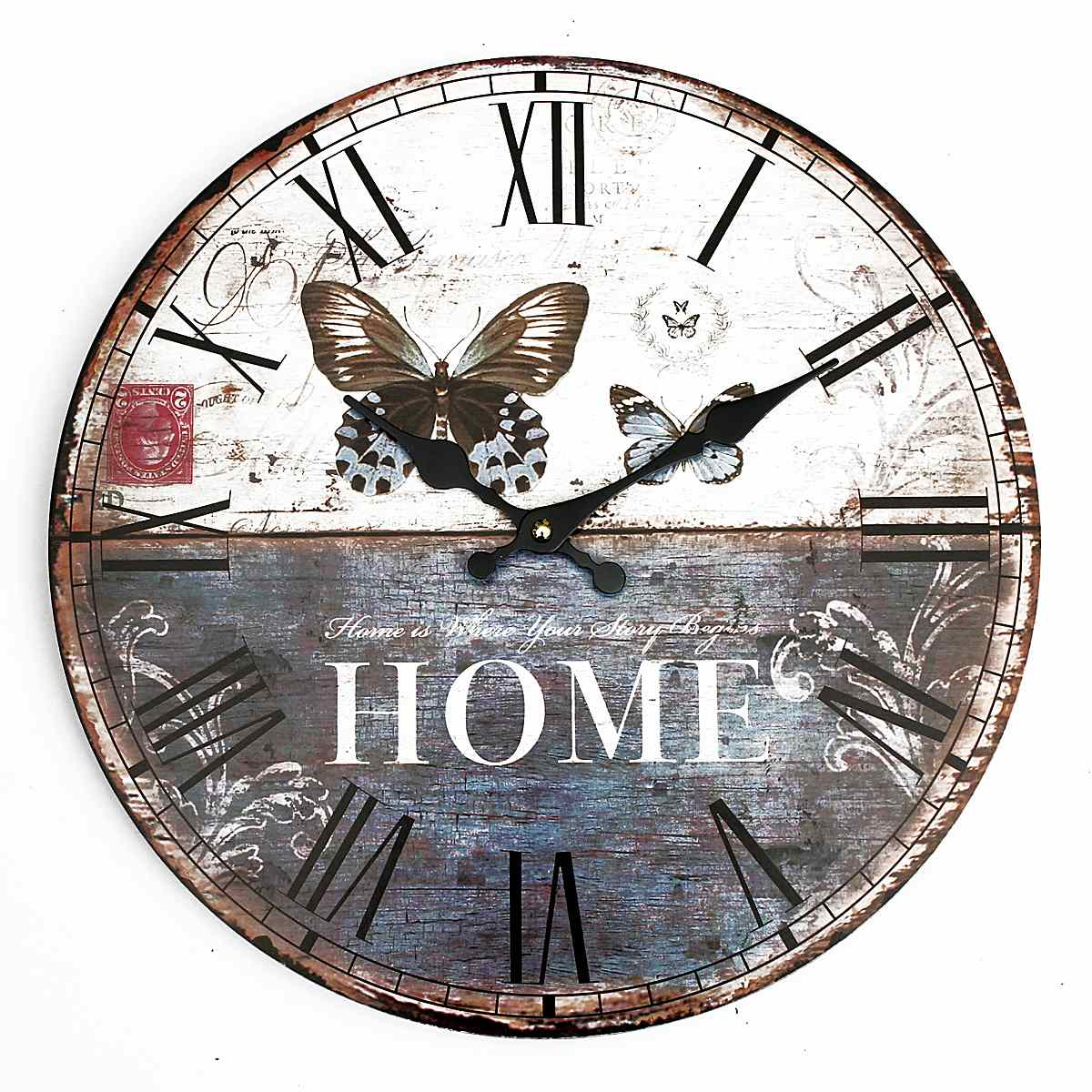 Best Price Butterfly Vintage Rustic Shabby Chic Home Office Cafe Bar Decor Art Wall Clock Free Shipping