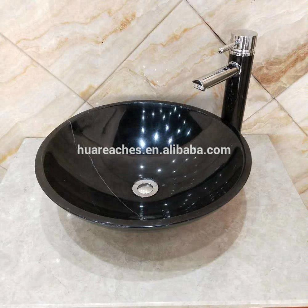 Coastal Hotel Villa Black Marble Wash Basin Bathroom Toilet Sink