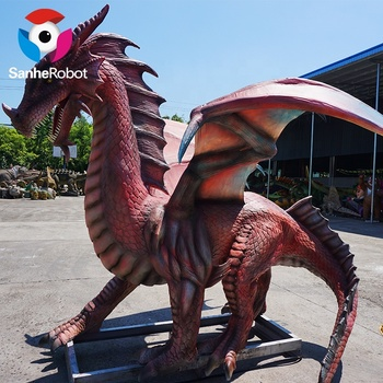 Large Artificial Silicone Animatronic Flying Dragon in Red