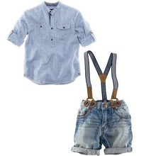 Retail one set 2015 summer children clothing sets boys shirt denim overalls handsome 2pcs boy sets