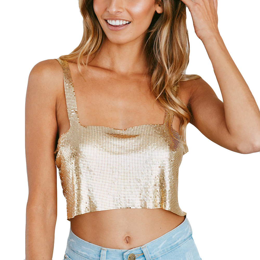 ede28779bf10c Crop Tops Femmes 2018 Court Sequin Top Femmes Été Or Argent Cami Tops Sexy  Backless Casual Sexy Club Cropped 530