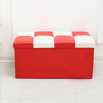 Household Large Space Folding Leather Ottoman Pouf Storage Bed