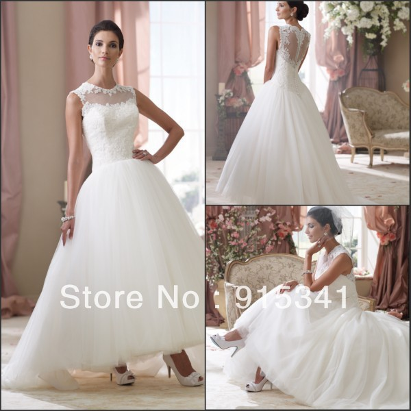 Simple Ankle Length Lace Wedding Dresses White Three: 2015 Simple Design Free Shipping Ankle Length Little White