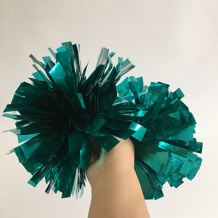 4 inch 1 color cheer pom poms metallic teal of cheerleading factory