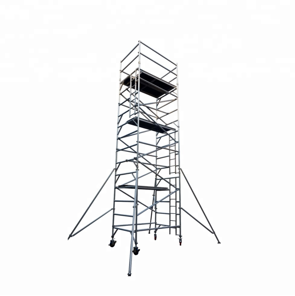 8M Height Aluminum Mobile Scaffold Tower With 8 Inch Castor Wheel