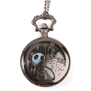 Antique Black Nightmare Christmas Theme Pocket Watch Vintage Steampunk Pendant Fob Necklace Watch (KKWT82045)