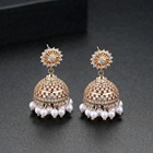 LUOTEEMI Traditional Ethnic Jewelry Jhumka Earrings New Designs Gold Tassel Jhumka Earrings India Jewelry